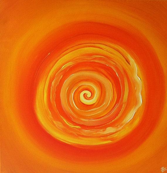 "Orange retro painting, Vintage art, circle painting, spin art, Vintage wall decor, vintage wall hangings, 20""x20"" Yin Lum (art commission)"