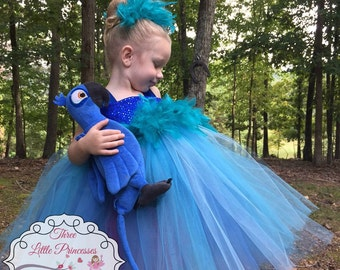 Blue Macaw Tutu Dress - Blue Parrot Costume - Parrot Dress