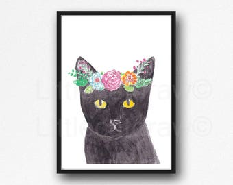 Cat Print Cat Wearing A Floral Crown Watercolor Painting Wall Art Black Cat Art Print Wall Decor Cat Lover Gift Animal Print Unframed
