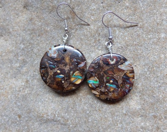 Large round Boulder Opal earrings - earthy, precious & natural stone jewelry handmade in Australia by NaturesArtMelbourne