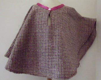 fine pink wool Cape or poncho for girls
