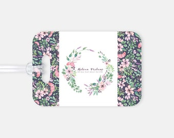 Luggage Tag - Floral - Personalized Gifts - Flight Attendant Gifts - Travel Lover Gifts - Cabin Crew Gifts