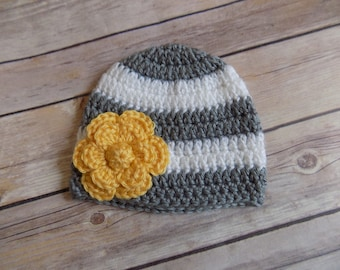 Baby Girl Hat, Photography Prop, Gray and Yellow Hat, Hat with Flower