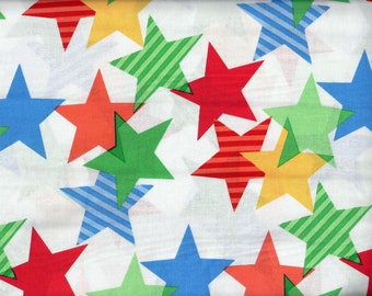 FREE SHIPPING - Funfair Stars-A-lined fabric - white and primary colors red green yellow orange  - Michael Miller - by the continuous YARD