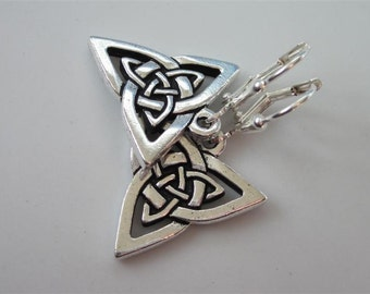 Celtic Triquetra Earrings, Silver Triangular Knot, Celtic Jewelry, Triquetra, Celtic Knot, Leverback