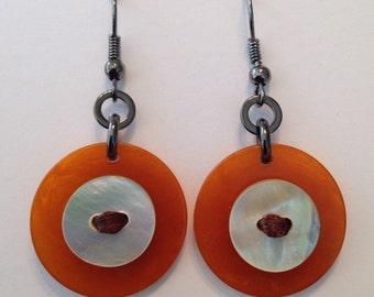 Applejuice Bakelite MOP earrings