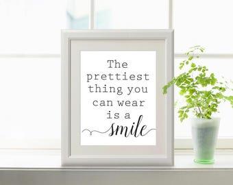 Printable Quotes, bathroom wall decor, bathroom wall art, bathroom decor, bathroom art, a smile is the, prettiest thing, you can wear, print