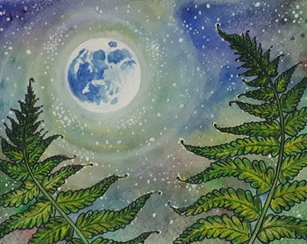 Print Fern Watercolor Painting -Moonlight night -Giclee Print -green Wall Decor-  fern Art illustration -fern painting green decoration