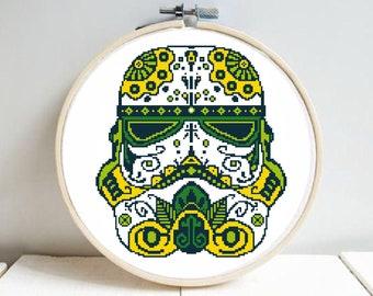 Star Wars cross stitch pattern, modern cross stitch pattern, geometric, mandala, darth Vader, imperial trooper, Star Wars, pdf, diy