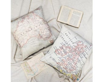 Personalised International Destination Map Cushion or Pillow - Vintage Map, cartography, anywhere in the world, home, housewarming