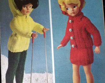 Vintage knitting pattern for 14 inch doll- 4ply yarn, ski suit and skirt suit.