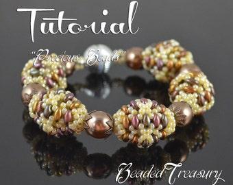 """Beaded bead tutorial """"Precious Beads"""" superduo bead pattern, beaded bead pattern, seed beads pattern TUTORIAL ONLY"""