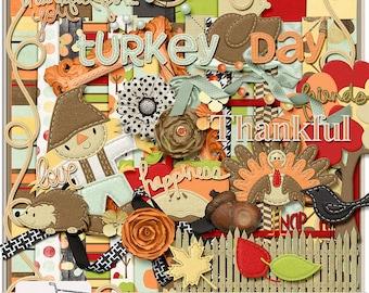 Thankful Its Fall Thanksgiving Digital Scrapbook Kit