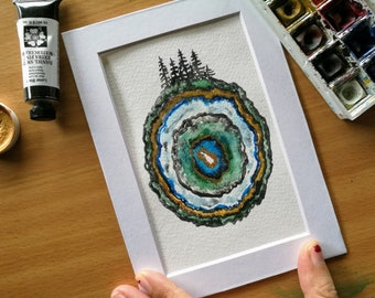 Geode Earth Original Watercolor Painting, Agate, Stone, Gem, Evergreen Trees, Planet Earth, Abstract Nature Art, Strata, Pine Trees, Green