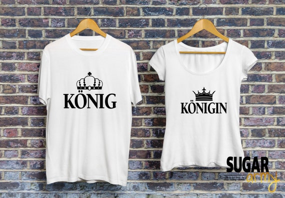König Königin Pärchen T-shirt, KING and QUEEN set of t-shirts for couples, Pärchen-T-shirt, Shirts für Paare, Paare Shirt, 100% Cotton tees