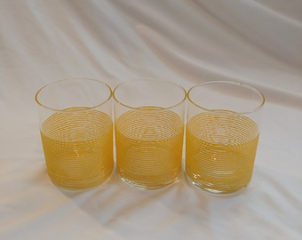 1970s Culver LTD. Yellow Beveled Striped Drinking Glasses Set of 3