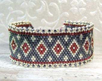 Woven Bead Bracelet Handmade Gift for Her, Beadwoven Bracelet, Geometric Jewelry Sterling Silver Cuff Bracelet Glass Jewelry Boho Style