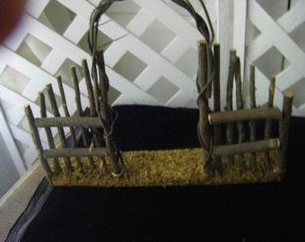 Fairy garden fence w/ arbor/doll house trellis/ Fence w/trellis wooden trellis w/ fence