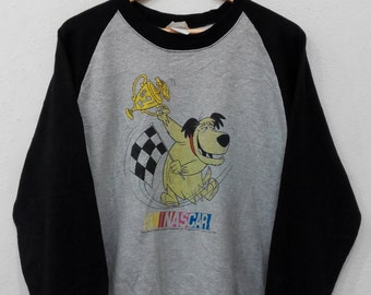 rare ! wacky races cartoon big logo pullover jumper crew neck sweatshirt rENXkO