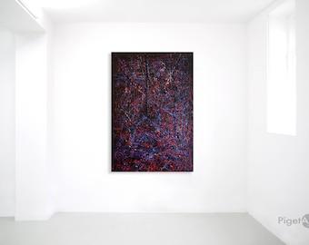 "Abstract Mixed Media Art on Canvas 130X90 ""Pensiero Notturno"""