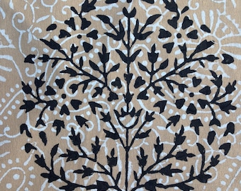 Hand Block Printed Placemats- Beige and Black