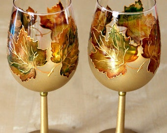 Wine Glasses, Retirement Gift, Wedding Glasses, Hand Painted Glasses, Autumn Leaves, Maple Leaves