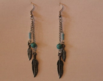 Turquoise, Seed Bead, and Feather Earrings