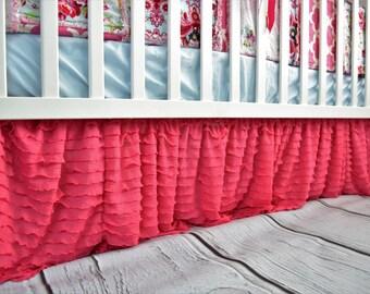 Hot Pink Ruffle Crib Skirt - Baby Girl Nursery - Pink Crib Skirt - Girl Crib Skirt - Crib Dust Ruffle- Long Crib Skirt Girl Bedding Bedskirt