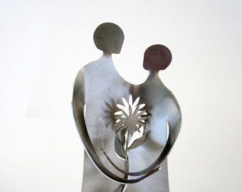 LOVE FLOWERS- metal sculpture cake topper, wedding and bridal shower gift
