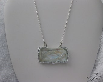 Clear Glass Bar necklace with Chain