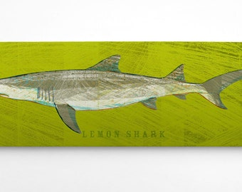 Fathers Day Gift for Him Shark Decor, Shark Wall Art, Lemon Shark Art Block, Lemon Shark Print, Fish Gifts for Husband, Fish Art