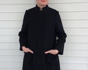 Adele Simpson Coat Black 70s Vintage Heavy Long S