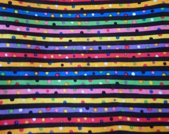 Rainbow Stripes, Dotted Stripes, Stripes & Dots on Black, Quilting Cotton By the Half Yard