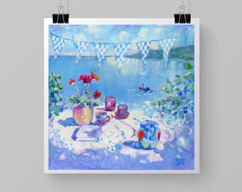"Seaside Art Print ""Tea By the Sea"" from Original Still Life Painting"