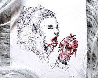 """Man Eater - Halloween Giclee Art Prints by Ghray - 6"""" by 7.5"""""""