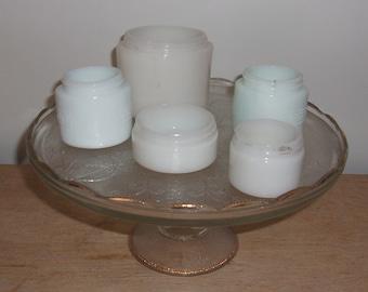 Lot of 5 Vintage Ponds Woodbury White Milkglass Face Cream Jars