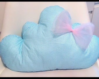 Baby cloud shaped cushion with bow