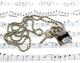 Vintage Real Working Small Padlock and Key Necklace