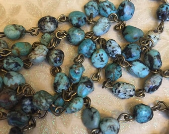 SALE NEW BC195 Earthy style Handmade USA linked rosary chain natural African Turquoise nuggets 6 to 8mm gemstones