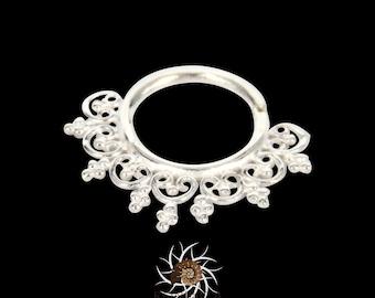 Heart Silver Septum Ring - Septum Jewelry - Septum Piercing - 18G Septum - 16G Septum - Tribal Septum Ring - Indian Septum Ring (S12)