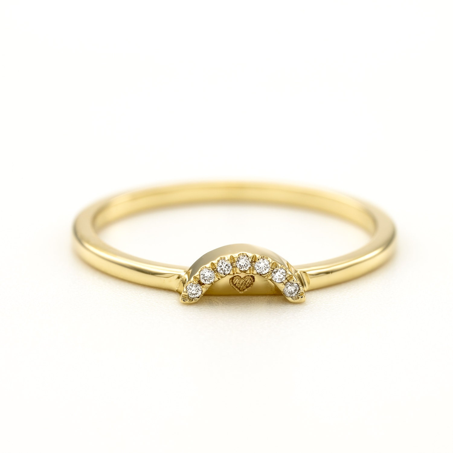 simple gold media ring diamond bandsimple solid elegant band wedding ringstackable space white apart stackable bands