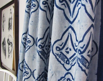 Indigo curtains Blue and white window curtains window boho bedroom home decor block print home living ichcha ONE panel - LINOCUT