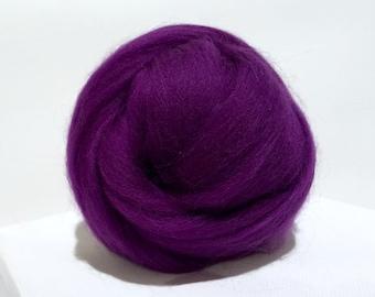 Eggplant Merino Wool Roving, Needle Felting, Spinning Fiber, purple roving, dark violet, Merino wool, purple wool, Saori weaving