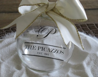 Glass ornament personalized with your family name