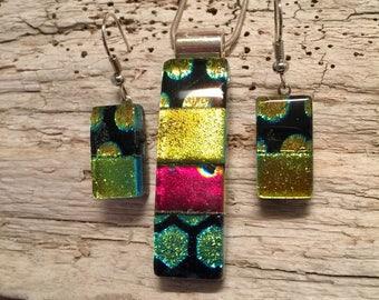 Dichroic glass, handmade dichroic, Dichroic glass jewelry, handmade dichroic glass, jewelry, fused glass, pendant, earrings, jewelry set