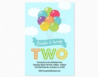Balloon Birthday Party Invitation, Balloon Bouquet, Boy, Red, Blue, Green, 1st Birthday Invitation, Printable or Printed