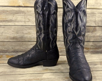 Dan Post Cowboy Boots Black Leather Mens Size 9 D Distressed Vintage Rockabilly