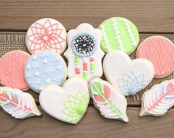 Boho Decor / Tribal Decor / Tribal Bohemian Chic / Bohemian Cookies / Tribal Cookies / Boho Party Favor / Dreamcatcher Cookies / Bohemian