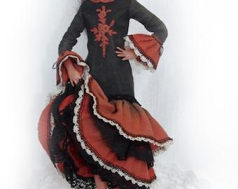 Art doll OOAK - doll flamenco dancer - flamenco art home decor - The soul of flamenco, Spanish, passion - 11 inch