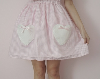 Pink Gingham Heart Pocket Skirt- Made to Order!